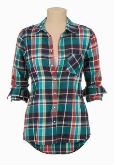 One Pocket High-low Plaid Button Down Shirt