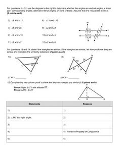 Similar Triangles Proofs Practice Worksheets (Classwork ...