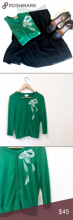 """ᴷᵃᵗᵉ ˢᵖᵃᵈᵉ Green Button-up Cardigan Sweater Sweater Details ⇣  ➺ Green Kate Spade Silk/Cashmere cardigan with white bow detailing and 3/4 length sleeves ➺ Super cute and a gorgeous color ➺ Great condition!   ➺ Size: L (but will fit small or medium too) ➺ Length: 22"""" ➺ Bust 33"""" ➺ Sleeve Length: 17"""" (3/4 length) ➺ 55% Silk 45% Cashmere    ✖️Trades 💰Bundle & save 15%     ⓣⓐⓖⓢ  Kate Spade, marc jacobs, chloe, asos, zara, urban outfitters, topshop, free people, nasty gal kate spade Sweaters…"""