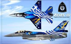 """ZEUS"", the Hellenic Air Force's Block solo demo aircraft Airplane Fighter, Fighter Aircraft, Fighter Jets, Aviation Forum, Aviation Art, Hellenic Air Force, F 16 Falcon, Aircraft Painting, Nose Art"