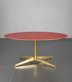 Ignazio Gardella; Brass, Cherry and Laminate Center Table for Azucena, c1954.