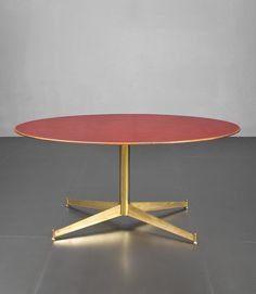 Ignazio Gardella; Brass, Cherry and Laminate Center Table for Azucena, c1954.
