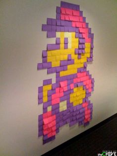 Mario made of post-it notes