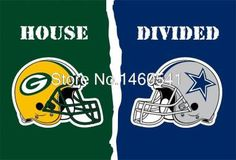 Green Bay Packers Dallas Cowboys Helmets House Divided Flag 3ft X 5ft Polyester NFL Banner Size No.4 144*96cm Custom Flag