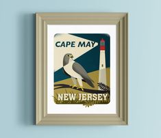 New Jersey art  New Jersey gift  Lighthouse gift  by nolibsdesign