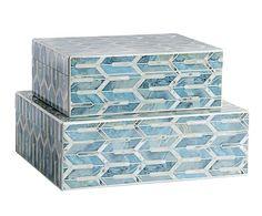Set de 2 cajas de madera DM - azul