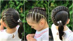 Peinado para niñas con ligas y trenza en media luna|Peinados fáciles y r...