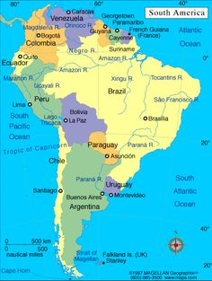 Map of South America. South America, the planet's 4th largest continent, includes 12 independent countries and 3 major territories; the Falkland Islands, Galapagos Islands and French Guiana. The continent contains the world's highest waterfall, Angel Falls in Venezuela; the largest river (by volume), the Amazon River; the longest mountain range, the Andes, and the driest place on earth, the Atacama Desert in Chile.