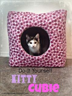 DIY Kitty Cubie. craftynightowls.blogspot.com #kitten #cat #cat_house #Cubie #DIY
