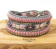 Pink and Silver Beaded Leather Bracelet-Boho Leather Wrap-Pink Superduo Leather Wrap-Boho Wrap-Wrap Bracelet-Leather Beaded Earrings, Earrings Handmade, Beaded Bracelets, Wrap Bracelets, Crochet Bracelet, Handcrafted Jewelry, Bead Jewellery, Beaded Jewelry, Jewlery
