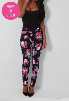 Dendritic Navy Floral Print Trousers