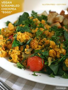 """Vegan Scrambled Chickpea """"Eggs"""" with Quick Hash (Egg-Free, Soy-Free + Gluten-Free)"""