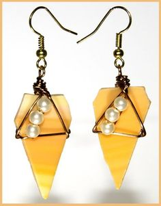 Yellow Sunshine and Pearl Wire Wrapped Stained Glass Earrings | WireCrafters - Jewelry on ArtFire