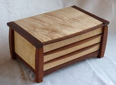 Solid Wood Jewelry Box Maple and Mahogany by WunderKab on Etsy