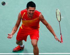 Day 9 - China's Lin Dan celebrates winning his men's singles badminton gold medal match against Malaysia's Lee Chong Wei at the London 2012 Olympic Games at the Wembley Arena. BAZUKI MUHAMMAD/REUTERS
