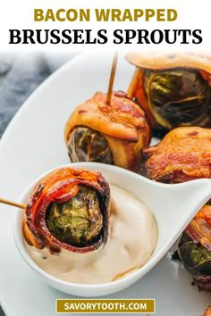 Bacon wrapped brussels sprouts with balsamic mayo dip — This is one of my favorite fall/Thanksgiving appetizers: roasted brussels sprouts wrapped with crispy bacon slices and dipped in a balsamic vinegar and mayonnaise sauce. Low carb and keto friendly.