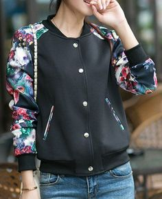 Fashionable Stand Collar Long Sleeve Floral Print Baseball Jacket For Women