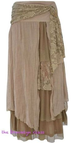Beautiful romantic skirt in light, earthy brown. Perfect with a casual tank or an embellished camisole. Flowing, textured, and layered, this is a flattering and gorgeous garment with an elastic waistband.: