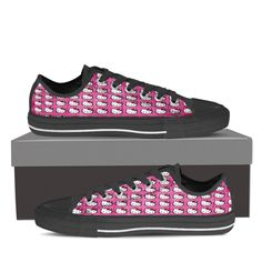 Available in white or black. Lace-up closure for a snug fit. Metal eyelets for a classic look. Hello Kitty Shoes, Top Shoes, Classic Looks, Snug Fit, Pink White, Converse, Louis Vuitton, Sneakers, Classy Looks