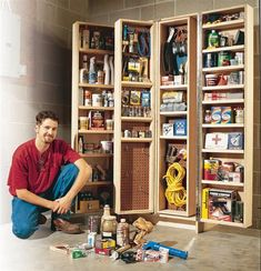 Shop Cabinets that can be closed save the dust buildup on tools with open board storage.