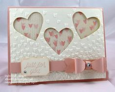 Valentine's Day card Heart Trio Falling Petals Embossing Folder, Bow Builder Punch and Falling in Love Designer Paper.  This would be a great wedding card, too!