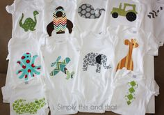 Simply This and that: Fabric Applique Boy Onesies