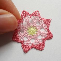 Miniature crochet doily in pink and yellow by MiniGio on Etsy