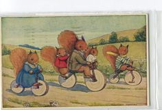 """The Bicycle Ride"" By Margaret Tempest Dressed squirrels riding bicycles published by Medici Society, London, England. Postcards For Sale, Vintage Postcards, Beatrix Potter, Red Squirrel, Secret Squirrel, Vintage Children's Books, Vintage Items, Woodland Creatures, Children's Book Illustration"