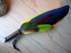 Orinoco~ Feather Fan, Smudge Fan- Native Tribal Ceremony, Prayer Fan, Blue Macaw, Green Parrot, Guinea, Deertan, Kyanite, Blessing Ritual  (SacredLandSage.com)