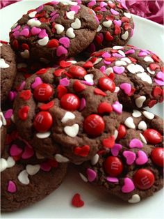 Chocolate chunk cookies with Valentine's M&Ms and sprinkles