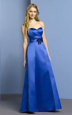 Reasonable Sheath Ankle-length Sweetheart Royal Blue Satin Dress