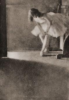 Dancer, behind the scenes. (BromOil Pigment Photo, c1909)   Photographer: Robert Demachy, Paris