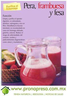 Jugo Natural de Pera, Frambuesa y Fresa: Purifica el estómago. #ConsejosdeSalud #TipsSaludables #Salud