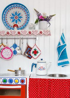 Vintage-inspired play kitchen.  Polka dots.