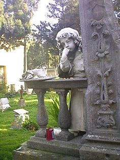 1891...in memory of a little 2 year old  girl...she is seen beside a broken stone to symbolize the line between life and death.