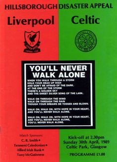 Celtic v Liverpool  Hillsborough Memorial Match  April 1989