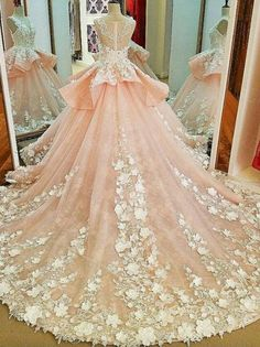 Lace Appliqued Princess Ball Gown Wedding Dresses Pink Bridal Gowns,apd2326 Pink Wedding Dresses, Wedding Dress Train, Luxury Wedding Dress, Cheap Wedding Dress, Wedding Gowns, Wedding Lace, Formal Dresses, Moda Peru, Princess Ball Gowns