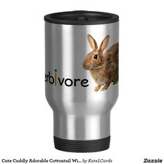 Cute Cuddly Adorable Cottontail Wild Bunny Rabbit 15 Oz Stainless Steel Travel Mug