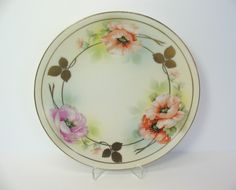 Porcelain Plate German Prov Sace ES Germany Peach Pink Floral Gold Leaf Antique Dish by MicheleACaron on Etsy