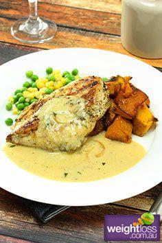 Healthy Dinner Recipes: Rosemary Chicken with Tarragon Sauce. #HealthyRecipes #DietRecipes #WeightlossRecipes weightloss.com.au