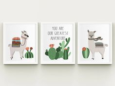 Llama and cactus printable nursery art set you are our