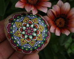 Hand Painted Stone Mandala Inspiration Meditation Home Decor Gift Stocking Stuffer