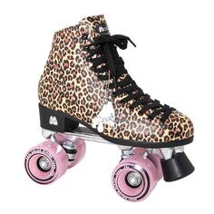 If leopard is your favorite print, this is the skate for you. This skate is accented with Moxi Frost Wheels( Your color choice! ) and black bolt on toe stops. Roll in style with these girly skates.