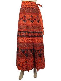 Elegant Long Cotton Wrap Around Skirts Hippi Boho Orange Black Elephant Floral Print Wrap Skirt Mogul Interior, http://www.amazon.com/dp/B009S29EIK/ref=cm_sw_r_pi_dp_6GZFqb0Y13P8S