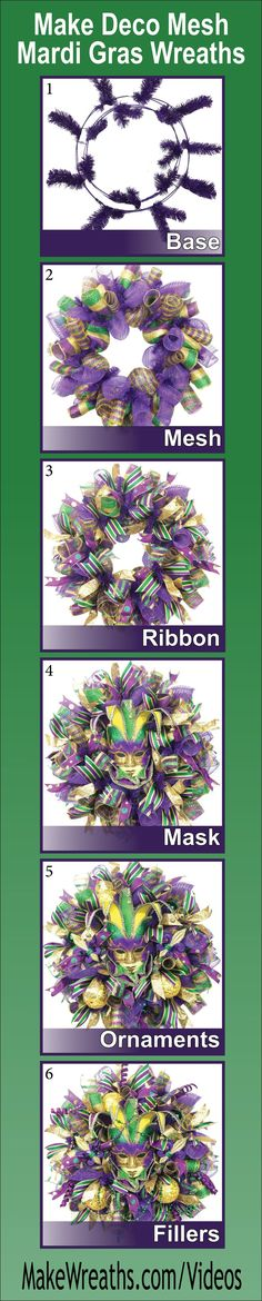step-by-step how to make SPECTACULAR Deco Mesh Mardi Gras Wreaths. Learn to make a perfect base using THREE types of mesh, add ribbon, masks, ornaments and throw beads.