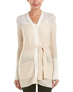 Escada Sport Womens Wool Mohair-Blend in Cardigan.  Two front pockets and tie-sash at waist.  Button down front.