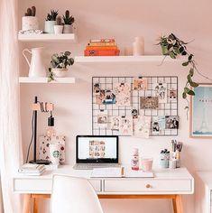 A pink home office. A pink home office. A pink home office. Study Room Decor, Cute Room Decor, Room Ideas Bedroom, Bedroom Decor, Room Setup, Bedroom Inspo, Bedroom Designs, Teen Room Designs, Wall Decor