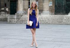 Maje dress, Elizabeth Cole earrings, Zara heels, Monki clutch, Hermès bracelet.