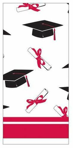 """Congrats Grad Classic Red Plastic Tablecover . $4.55. From the Congrats Grad Party Supply Collection. Congrats Grad Classic Red Plastic Tablecover. The celebration has began and graduates are ready to party. Get ready with them and set the tone of this big celebration with our party themed tablecover. The border of this white tablecover prints decorative graduation caps and diplomas along a red and white trim. Measures 54"""" x 108""""."""