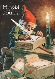 This is a postcard of an elf which I received from Sweden. The reverse of the postcard states 'God Jul Gott Nytt Ar' which translates as 'Merry Christmas and a Happy New Year'. Baumgarten, Christmas Gnome, Merry Christmas, Vintage Christmas Cards, Scandinavian Christmas, All Things Christmas, Yule, Faeries, Gnomes